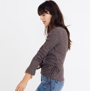 NWT Madewell Ballet Wrap Top Ribbed Brown Top